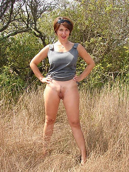 Naked old women outdoors